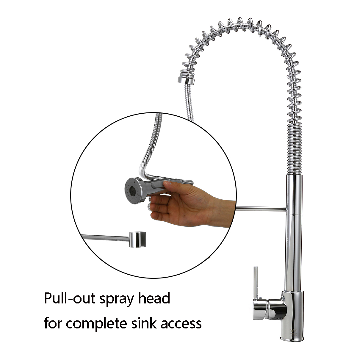 Chrome Spring Kitchen Faucet Pull Out Side Sprayer Spout 360 Rotation Single Handle Mixer Tap Sink Faucet Kitchen Faucets
