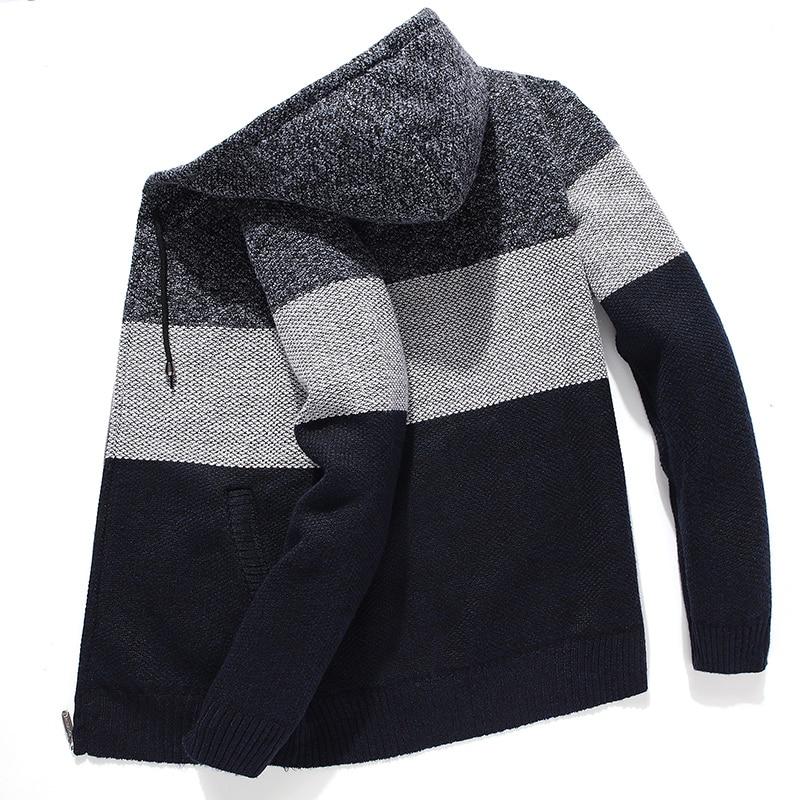 Men Hooded Sweatercoat Japan Style Stitching color Long sleeve Men Sweaters Casual Streetwear Harajuku Cardigan Sweaters Mens