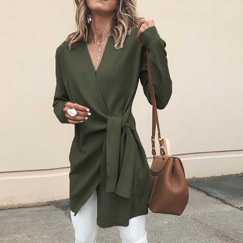 2019 Chic Wanita Warna Solid V Leher Panjang Lengan Pinggang Diikat Santai Rajutan Mantel Katun Slim Pinggang Diikat Kantor Wanita mantel