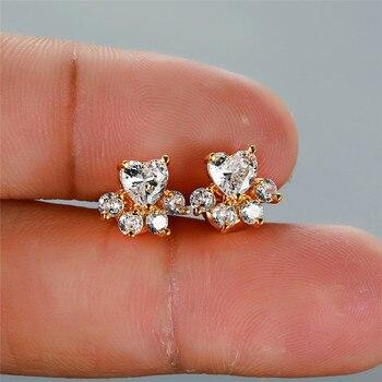 Dog White Stone Earrings  3