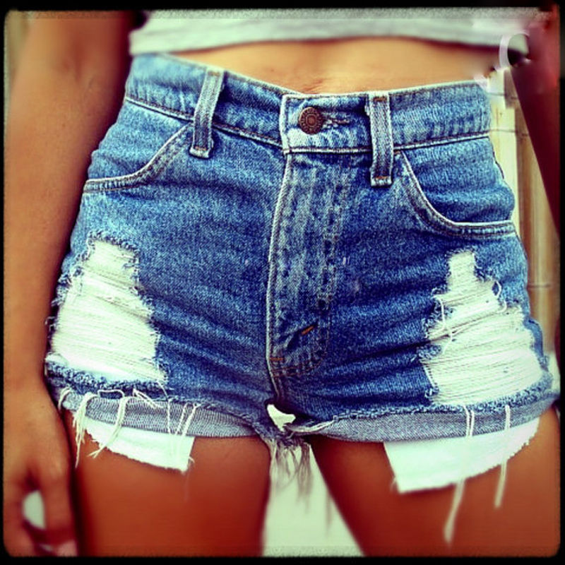 EBay Hot Selling Pure Cotton Large Size Elasticity Boutique Europe And America With Holes Exposure Pocket Cowboy Hot Pants Short