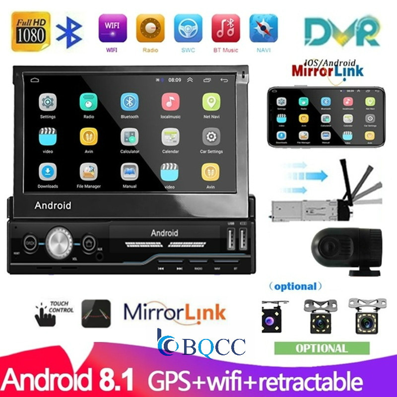 1 Din Android 8.1 GPS Navigation Car Multimedia Player Wifi Autoradio Touch Screen Car Radio Universal Car MP5 Player FM AM USB image