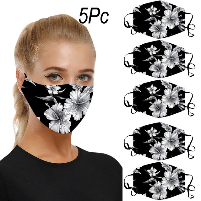 5pcs reusable mask Care face washable pm25 Anti-pollution facial masks flu Washable 3D Ice Silk Cotton Earloop Mask Mouth cap 1