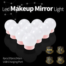 USB Led Vanity Mirror Makeup Light 12V Lamp Bulbs Kit Hollywood Dressing Table Light Dimmable LED 2 6 10 14PCS Cosmetics Lamp(China)