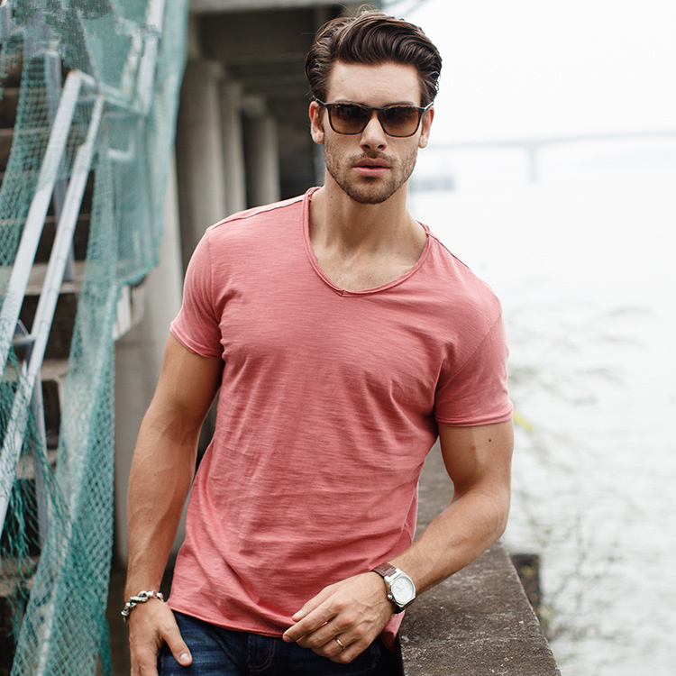 Brand Quality 100% Cotton Men T-shirt V-neck Fashion Design Slim Fit Soild T-shirts Male Tops Tees Short Sleeve T Shirt For Men 3