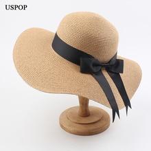 USPOP 2020 נשים קש כובעי שמש כובעי נקבה רחב ברים חוף כובע קשת קיץ כובע אנטי uv קש שמש כובעים