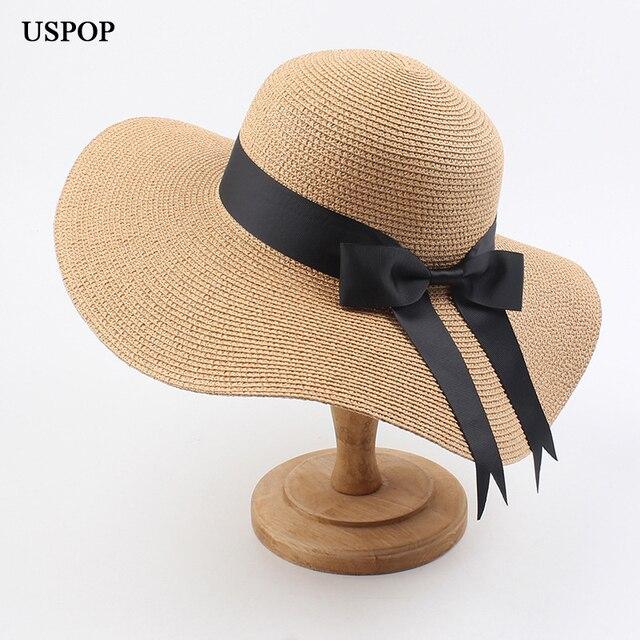 Uspop 2020 女性わら帽子日帽子女性ツバ広ビーチハット弓夏帽子抗uvわら太陽帽子