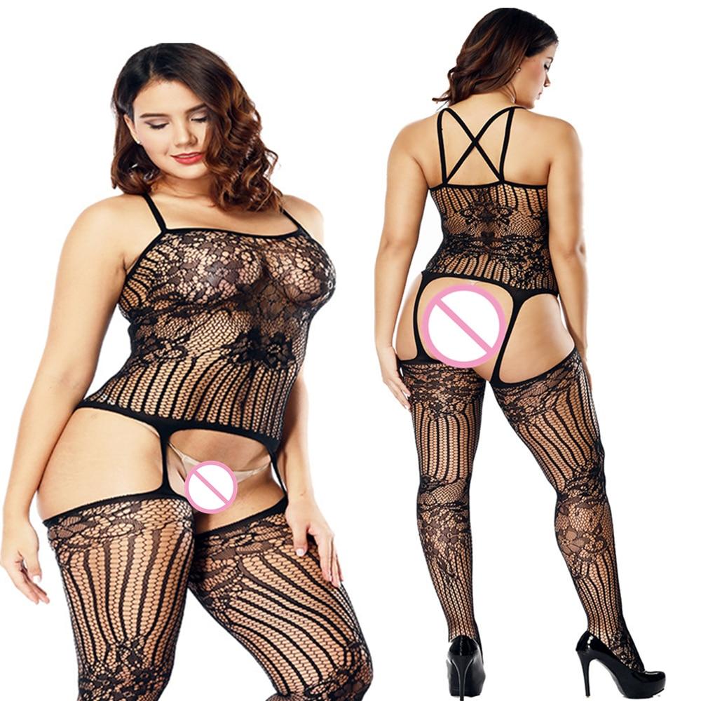 De talla grande Lencería XXXL transparente y sensual Bodystockings caliente erótico Sexy trajes de ropa interior Mujer Lencería ropa de dormir