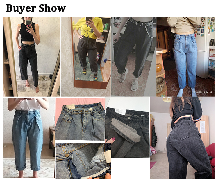 GUUZYUVIZ Loose Vintage Woman Jeans 2017 Autumn Bleached Casual Boyfriend Curl Denim Wide Leg Pants Oversize