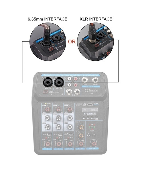 4/6 Channels Audio Mixer Sound Mixing Console with Bluetooth USB Record 48V Phantom Power Monitor Paths Plus Effects Use for DJ