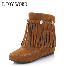 E TOY WORD Women Shoes Plus size 41 42 43 flat Heel round toe ankle boots Slip-on women boots comfortable autumn fringed boots round toe basic slip on suede flat ankle boots nubuck casual pleated khaki grayness comfortable women autumn winter shoes