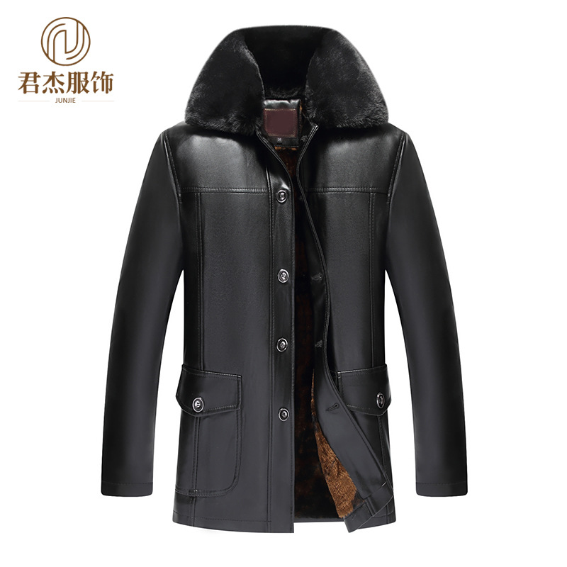 2018 Autumn And Winter Middle-aged Leather Coat Men'S Wear Brushed And Thick Daddy Clothes Warm Five Buckle Fur Collar Coat PU L