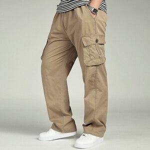 Image 4 - الرجال بناطيل كاجوال وزرة القطن مرونة الخصر كامل لين متعددة جيب زائد الأسمدة XL ملابس للرجال السراويل البضائع كبيرة الحجم