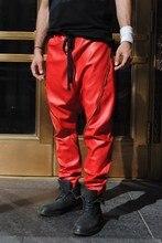 27-46  New Men's clohting fashion hiphop color block strap casual harem pants leather pants trousers plus size costumes