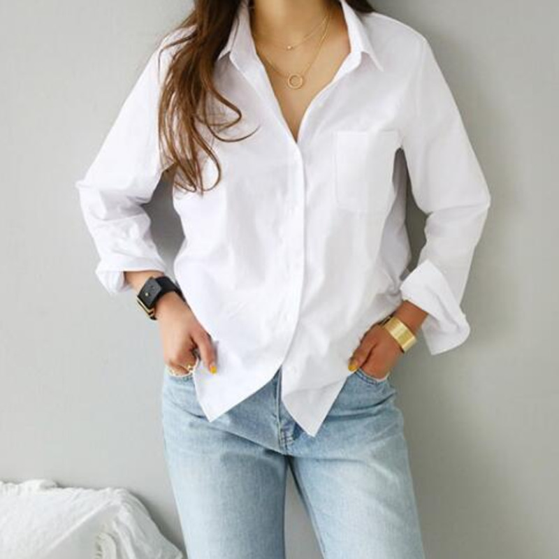 TITAME Shirts Blouses Women Fashion Casual Tops Female Turn-Down Collar White Loose Long Sleeve Blouse Ol Style Shirt Simple Top