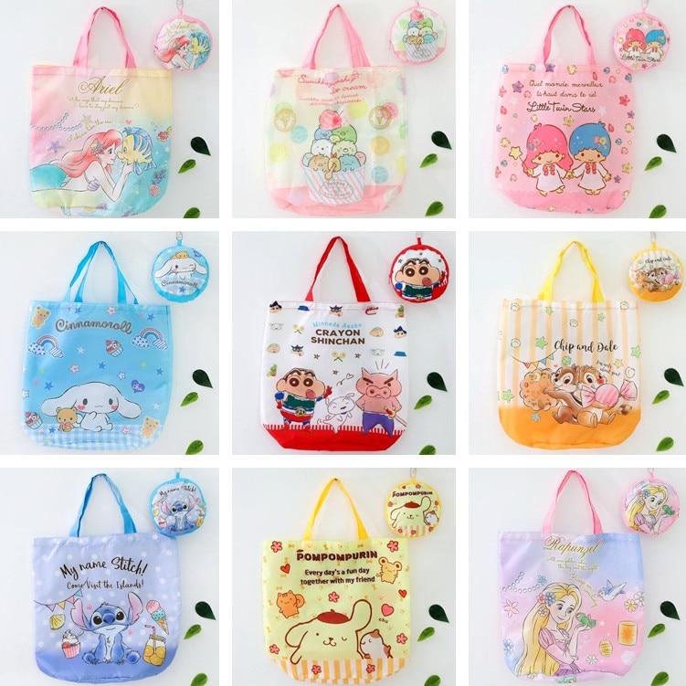 2pcs/set Cartoon Sumikko Princess Arial Oxford Fabric Shoulder Bag Portable Eco-Friendly Grocery Bags Reusable Tote For Ladies