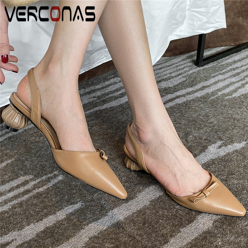 VERCONAS Butterfly Knot Pointed Toe Slippers Women Genuine Leather Brand Design Summer High Heeled Sandals Popular Shoes Woman