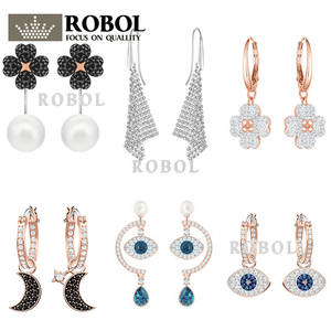 Original Earrings Jewelry-Making Women Swa Brand Wholesale for 1:1-Production-Gifts High-Quality