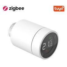 Tuya casa inteligente zigbee trv termostato válvula do radiador atuador programável controlador de temperatura apoio alexa assistente google