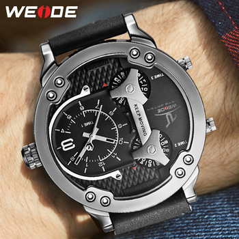 WEIDE Men Watch Analog Wristwatch Reloj Hombre Military Quartz Tops Luxury Brand Business Multiple Time Zone 2020 Men's Watches weide men s sport dress watches black dial waterproof quartz analog multiple time zone watches leather strap buckle wristwatch
