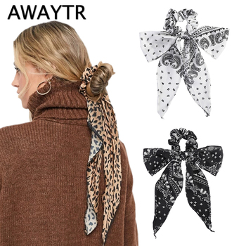 AWAYTR Fashion Floral Print Scrunchies Solid Long Hair Ribbon For Women Ponytail Scarf Sweet Elastic Hair Band Hair Accessories 2pcs sweet charming long tail ribbon floral headband tie women boho double loop alice band hairbands