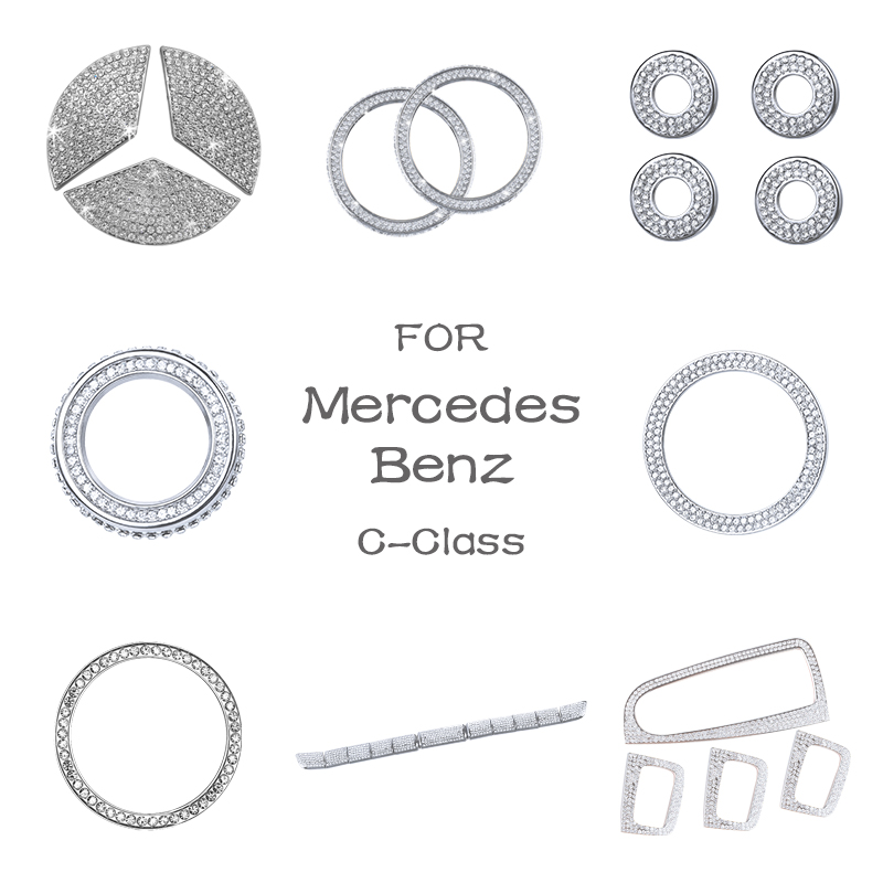 For Mercedes Benz Accessories C Class W204 W205 AMG Bling Sticker Interior Parts Decorations Trim Refit Crystal Shining Silver