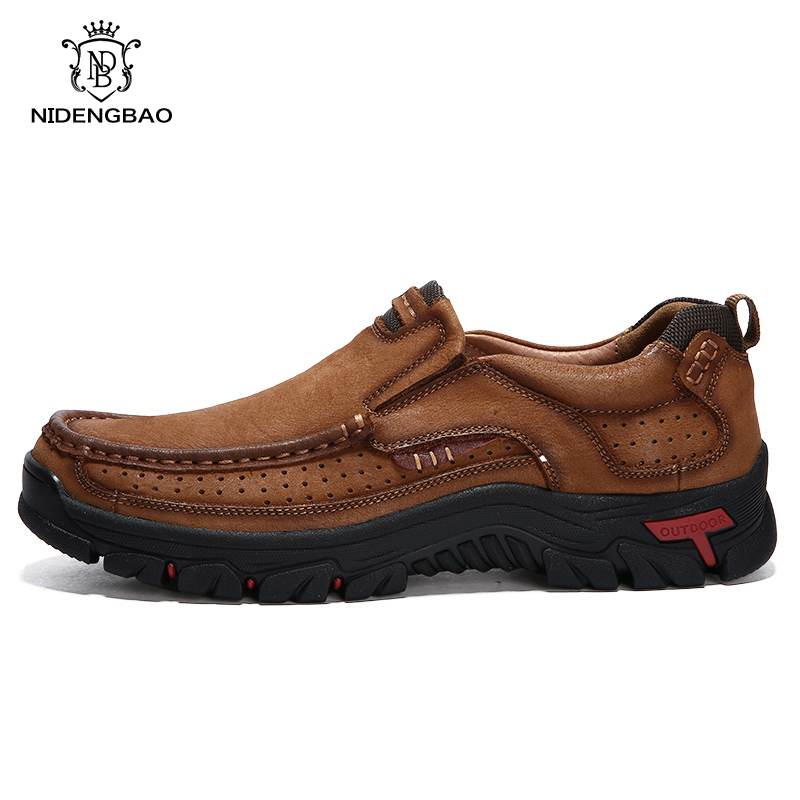Shoes Men Cowhide-Sneakers Breathable Hot-Sale Big-Size Genuine-Leather Non-Slip First-Layer