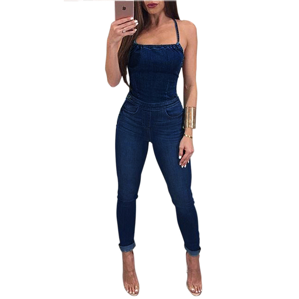 Sexy Backless Denim Jumpsuit Women Elegant Lace Up Sleeveless Pencil Pants Jean Women Jumpsuit Casual Night Club Overalls Romper