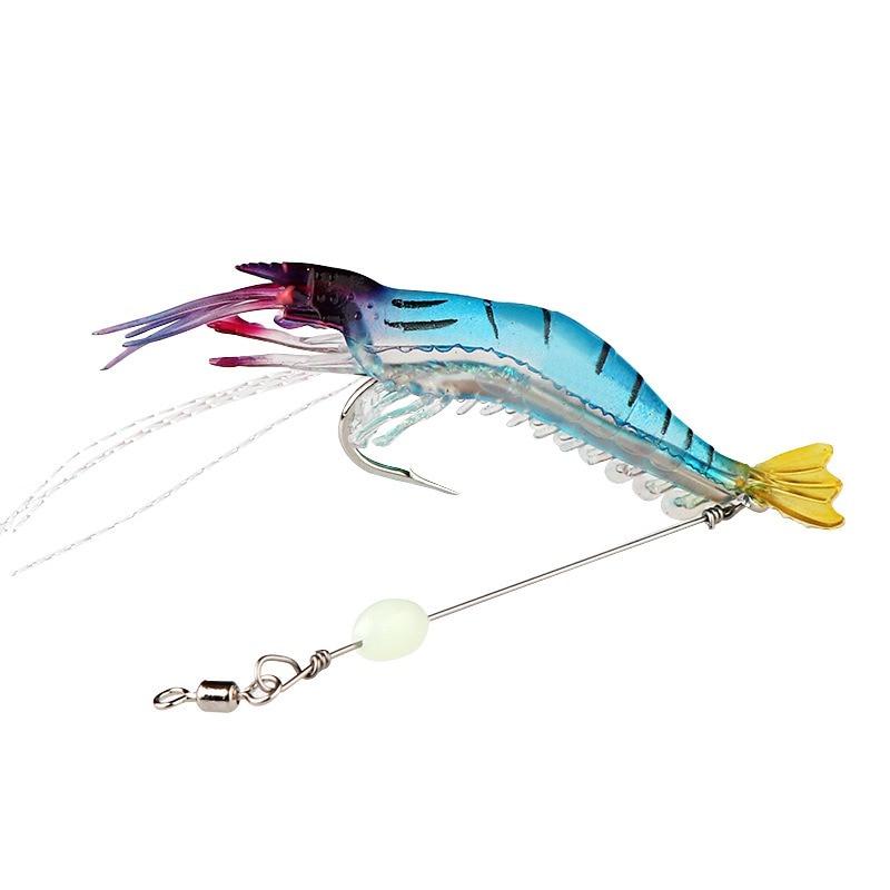 2 pcs/lot crevette souple leurre de pêche appât artificiel avec perle lumineuse crochet pivote plates-formes 9 cm/6.5g leurre de pêche accessoires de pêche