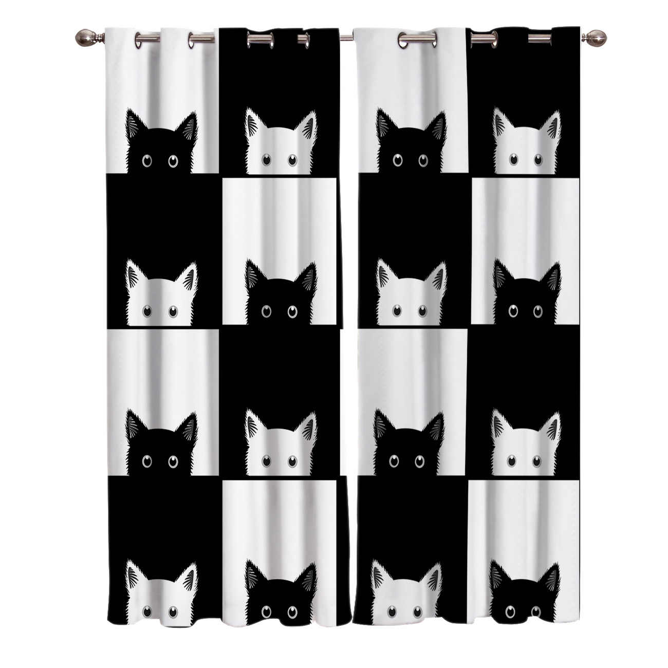 Geometic Black White Cat Window Treatments Curtains Curtain Bathroom Bedroom Kitchen Drapes Swag Kids Window Treatment Sets Curtains Aliexpress