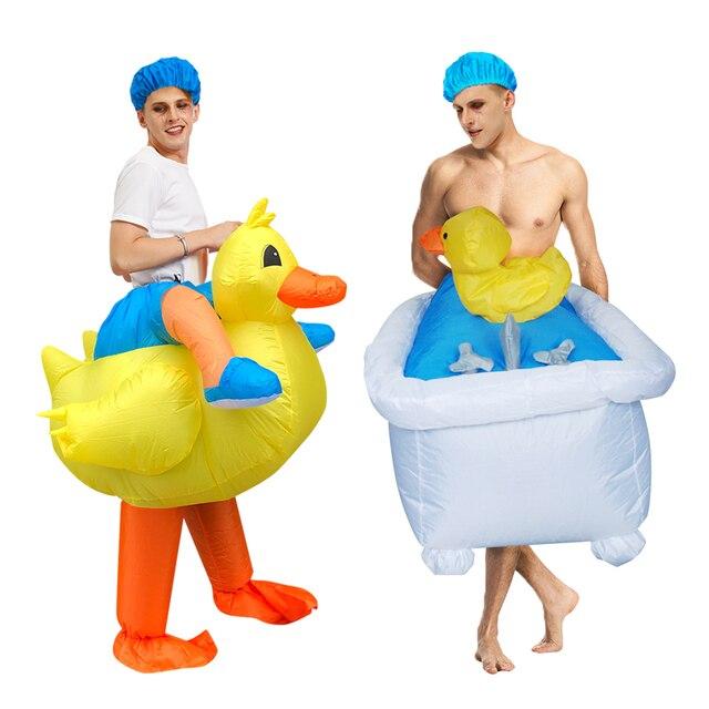 Gorący Cosplay kaczka nadmuchiwany kostium jeździć na wannie wyjść z kąpielą pływanie piękne przebranie dla interesującego dorosłego mężczyzny