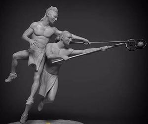 Image 1 - 1/24 75mm דוכן עתיק לוחם ולשחק שרף איור דגם ערכות מיניאטורות gk Unassembly לא צבוע