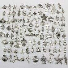 50 шт. тибетский серебряный смешанный морской конек ракушка Морская звезда черепаха океан тема биологические Подвески DIY бусины ювелирные аксессуары