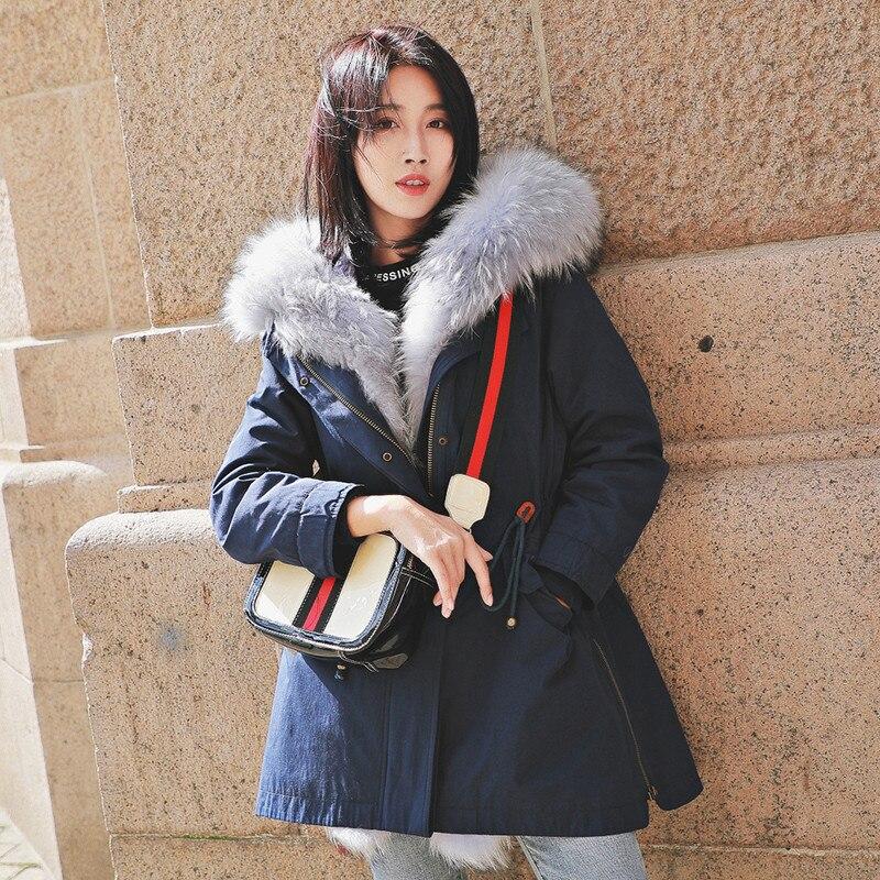 Rabbit Natural Fur Liner Parka Real Fur Coat Winter Jacket Women Raccoon Fur Collar Warm Long Jackets Chaqueta Mujer MY S