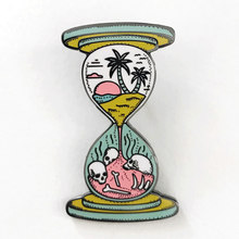 Hourglass Brooch space time and magic enamel Pin water clock to wander sunset decor(China)