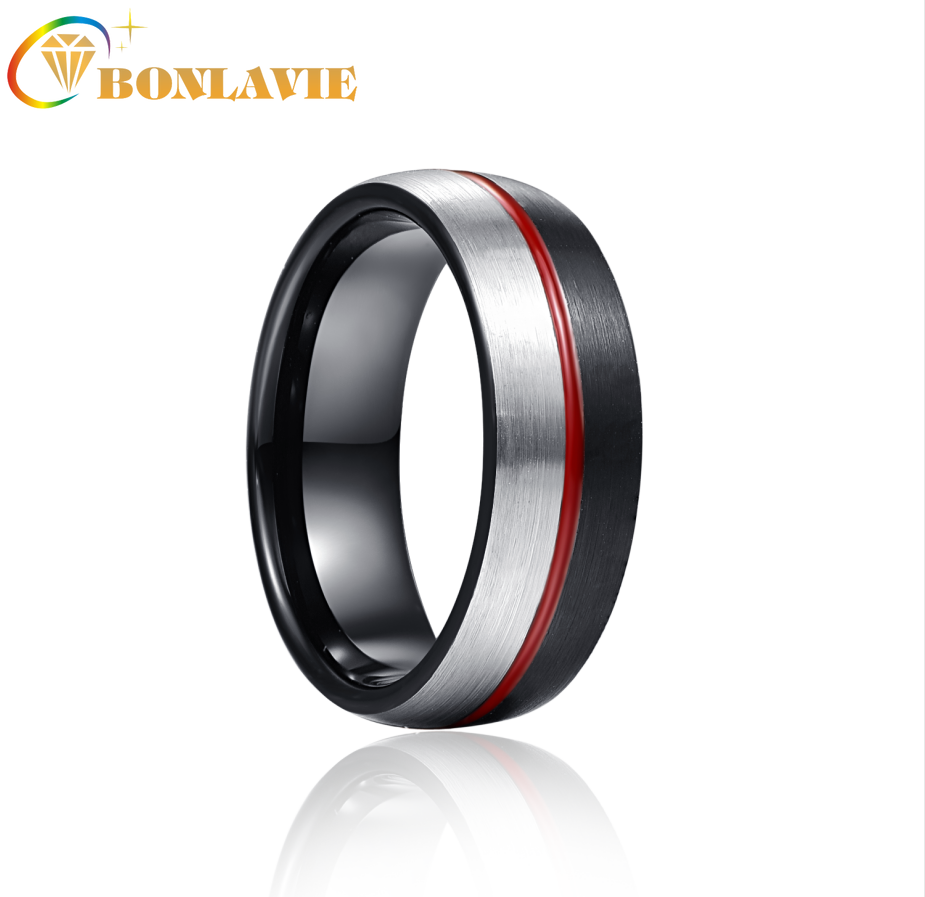 BONLAVIE 8mm Black Steel Red Glue Tungsten Carbide Ring Wedding Band for Men Comfort Fit Rings Engagement Jewelry