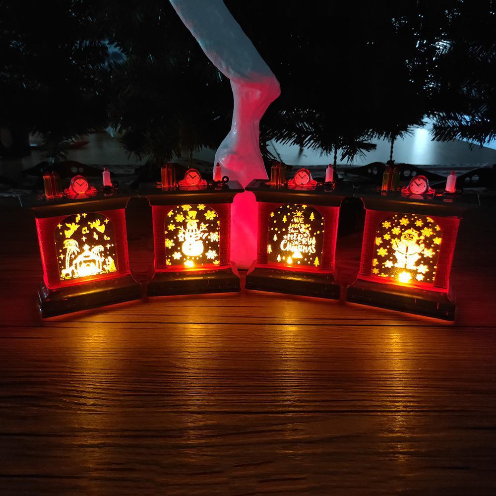 LED Lamp Fireplace Shape Decor Christmas Tabletop Decoration