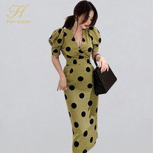 H Han Queen Elegant Occupation Dot V-neck Pencil Dress Women Slim Sheath Bodycon Dresses OL Wear To Work Summer Vestidos Korean