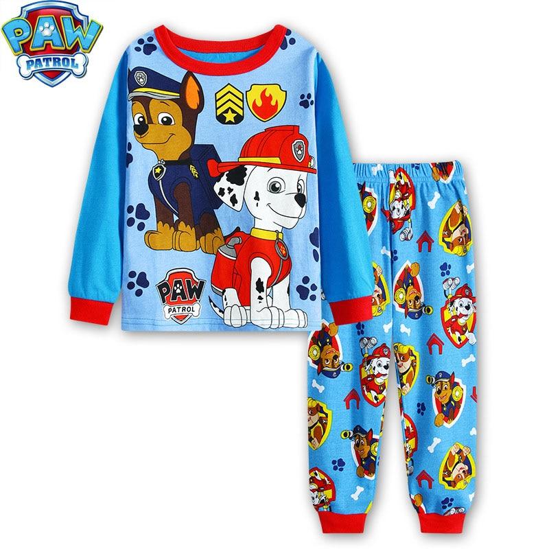 Paw Patrol kinder pyjamas zwei-stück dünne abschnitt lange ärmeln hosen cartoon kinder hause service pyjamas