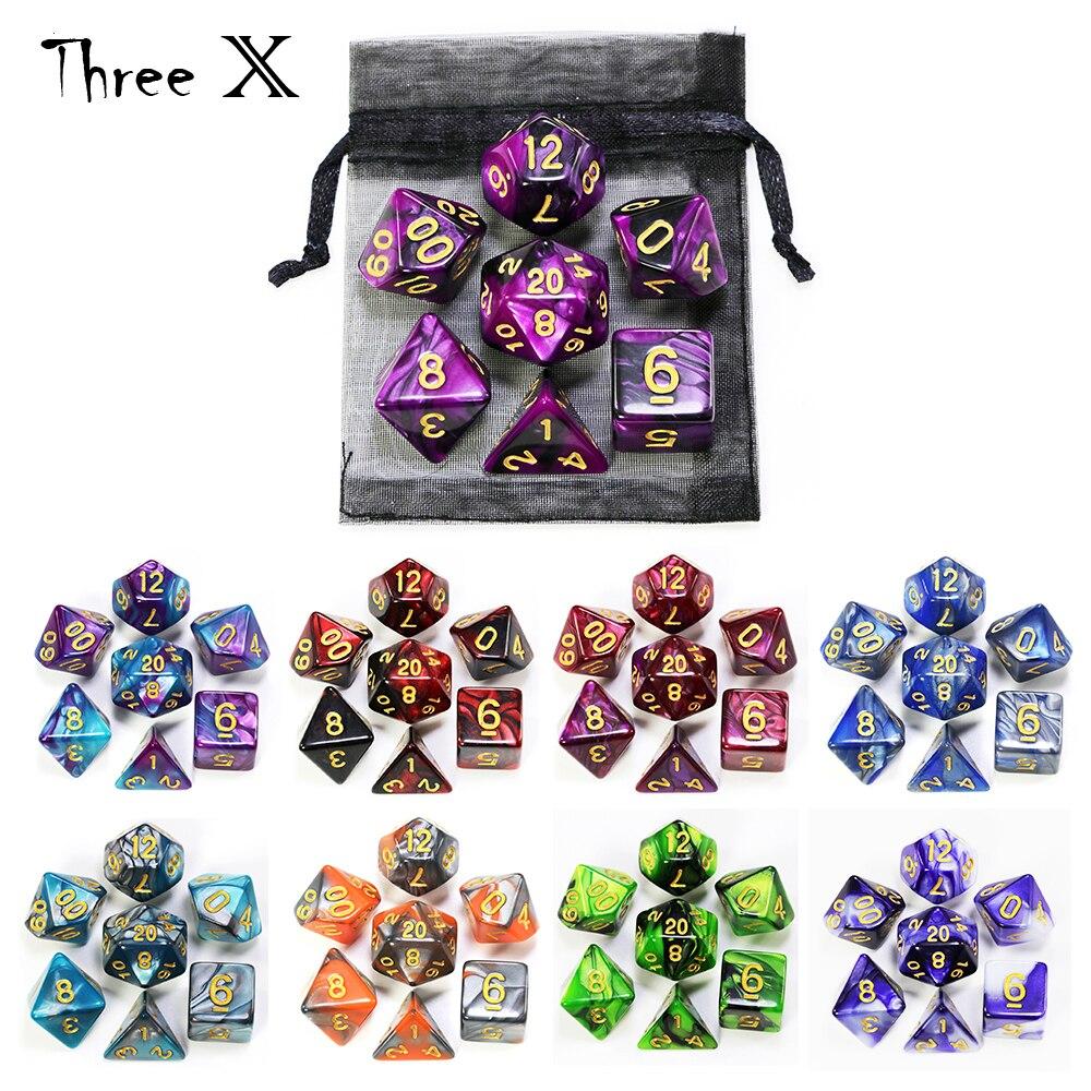 Jogo de dados polyhedral com malote duplo-cores com números de ouro de d4 d6 d8 d10 d % d12 d20 para jogos de mesa dnd rpg
