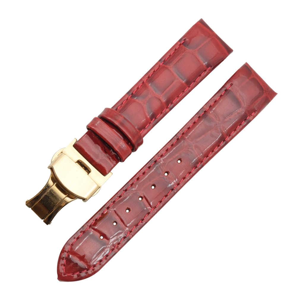 حقيقية حزام ساعة يد من الجلد حزام و للطي المشبك 18 مللي متر ل تيسو T035210A T035207 النساء حزام الساعات لتقوم بها بنفسك استبدال