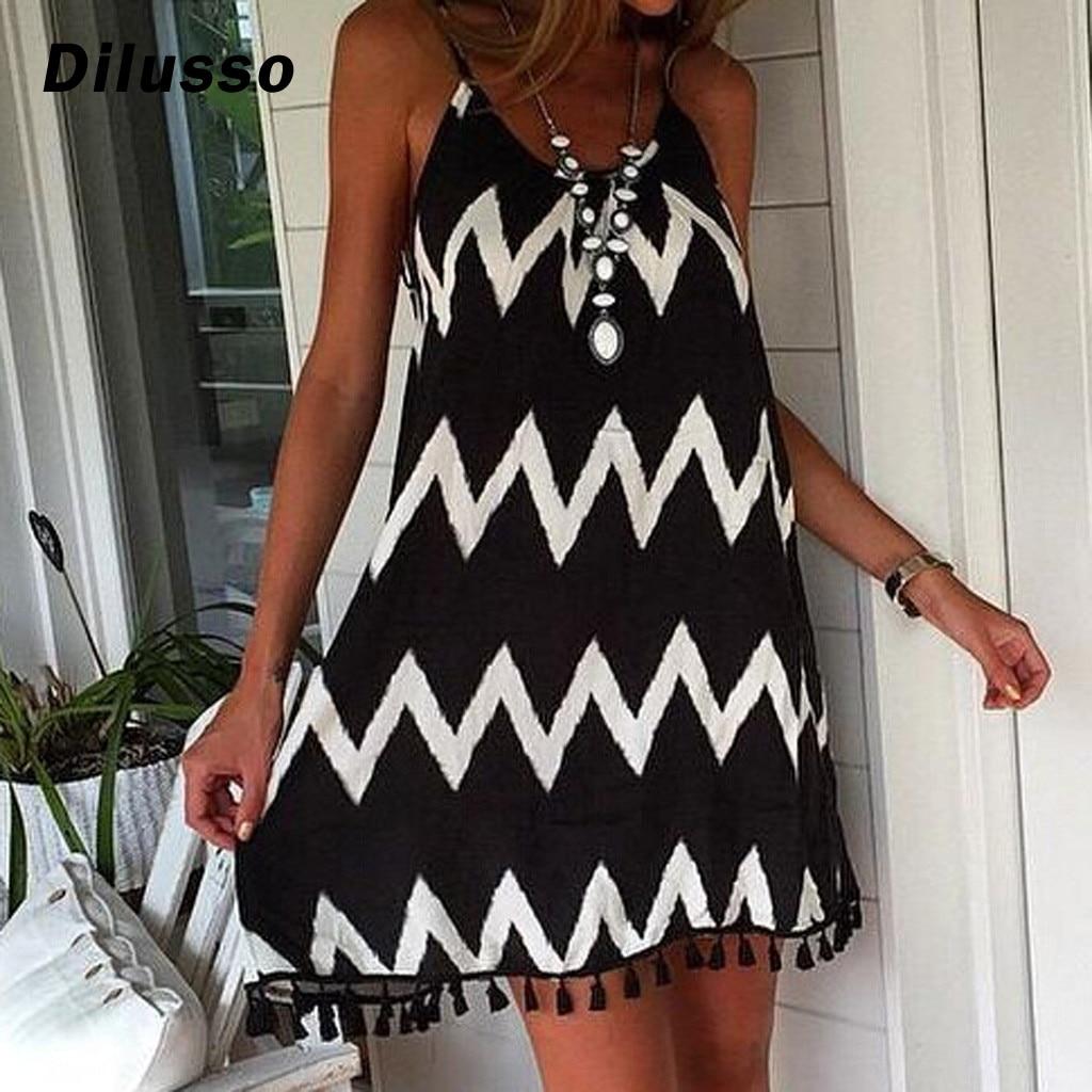 2020 sommer Kleid Frauen Sexy Welle Muster Quaste Strap Ärmelloses Kleid Urlaub Ärmellose Casual Party Kleid Kleidung # D3