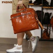 Pndme мужской и женский портфель из натуральной кожи в стиле