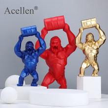 Creative Resin Sculpture Lift Bucket King Kong Home Decoration Barrel Simulation Gorilla Figure Statue Living Room Decor
