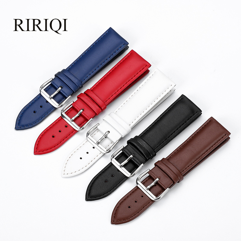 Genuine Leather WatchBand Stainless Steel Pin Buckle Watchbands Leather Strap Plain Weave 12-24mm