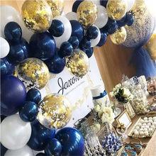 61 pièces ballons Bleu marine ensemble perle Latex confettis Baloons fête d'anniversaire décor Balon bébé saint valentin décor Ballon Bleu