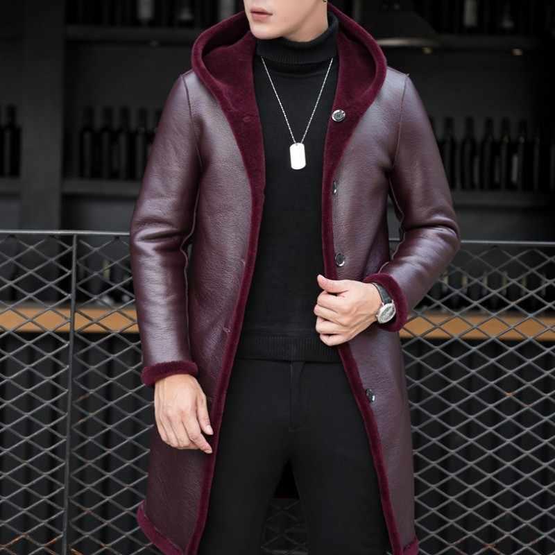 Роскошный меховой опушкой Для мужчин пальто для бизнес на каждый день Slim натуральный овечий мех режа Длинное пальто с капюшоном брендовая зимняя пиджак пальто плюс Размеры
