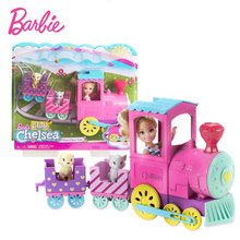 Original Barbie Chelsea Doll Choo-Choo Train Playset Car Toy Doll Accessories Girls Dolls House Toys for Children Lovely Bonecas barbie doll barbie shiny holiday home playset furniture miniatures dollhouse kit glam getaway house fully furnised baby girl toy