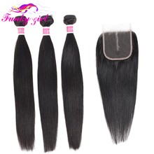 Funky Girl Extension Brazilian Straight Hair Weave 3/4 Bundles With 5*5 Lace Closure Remy Human Hair Bundles With Closure 28inch