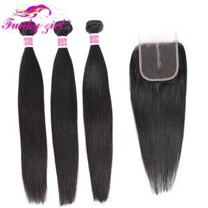 Image 1 - Funky Mädchen Erweiterung Brasilianische Gerade Haarwebart 3/4 Bundles Mit 5*5 Spitze Schließung Remy Menschliches Haar Bundles Mit verschluss 28 zoll